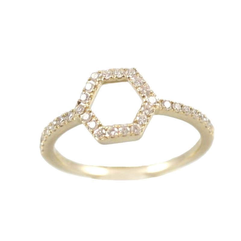 Beny Sofer 14 Karat Yellow Gold Open Hexagon Diamond Ring