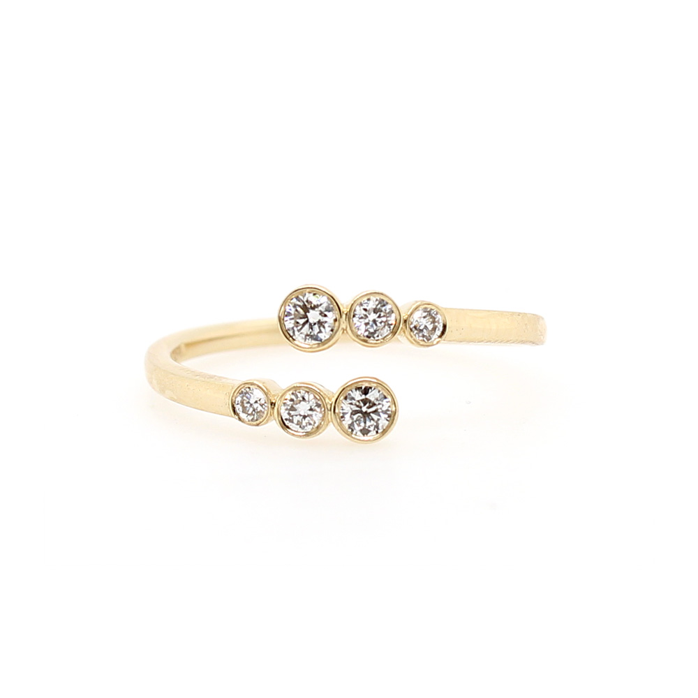 Beny Sofer 14 Karat Yellow Gold Diamond Bypass Ring
