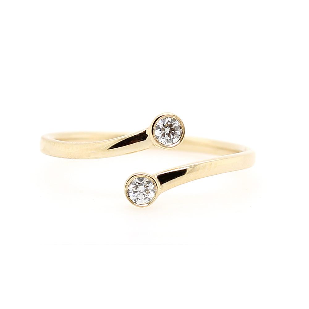 Beny Sofer 14 Karat Yellow Gold Bezel Diamond Bypass Ring