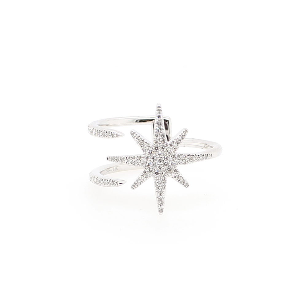 14 Karat White Gold Starburst Diamond Ring