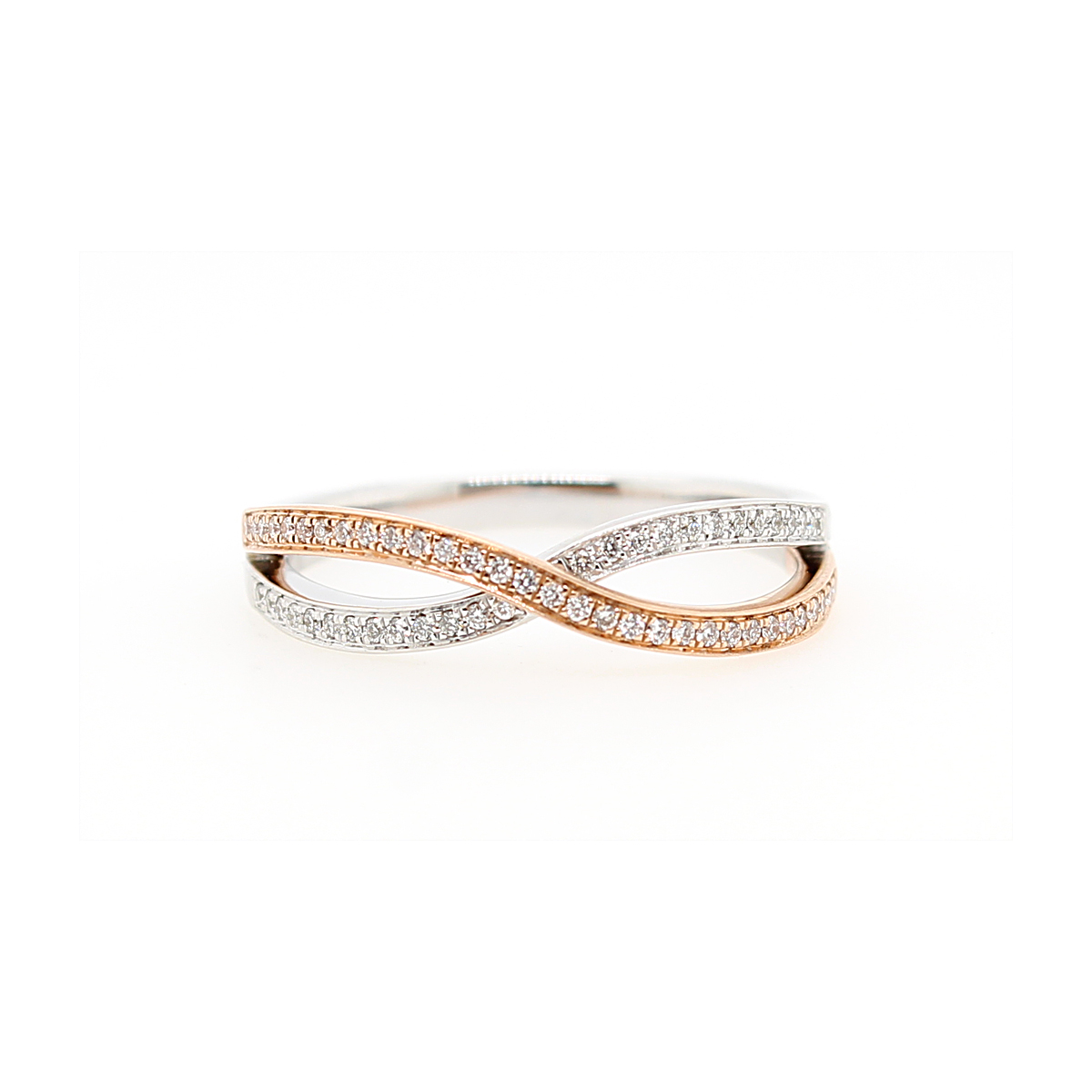 14 Karat Two Tone Diamond Criss Cross Ring