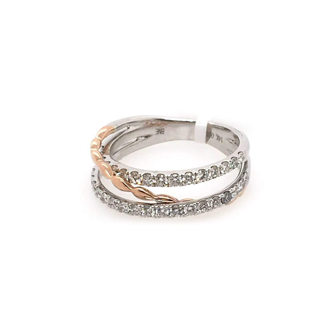 14 Karat White and Rose Gold Diamond Crossover Ring