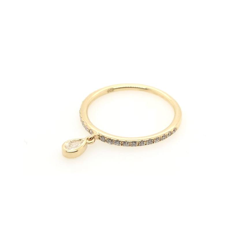Beny Sofer 14 Karat Yellow Gold Pear Shaped Dangle Ring