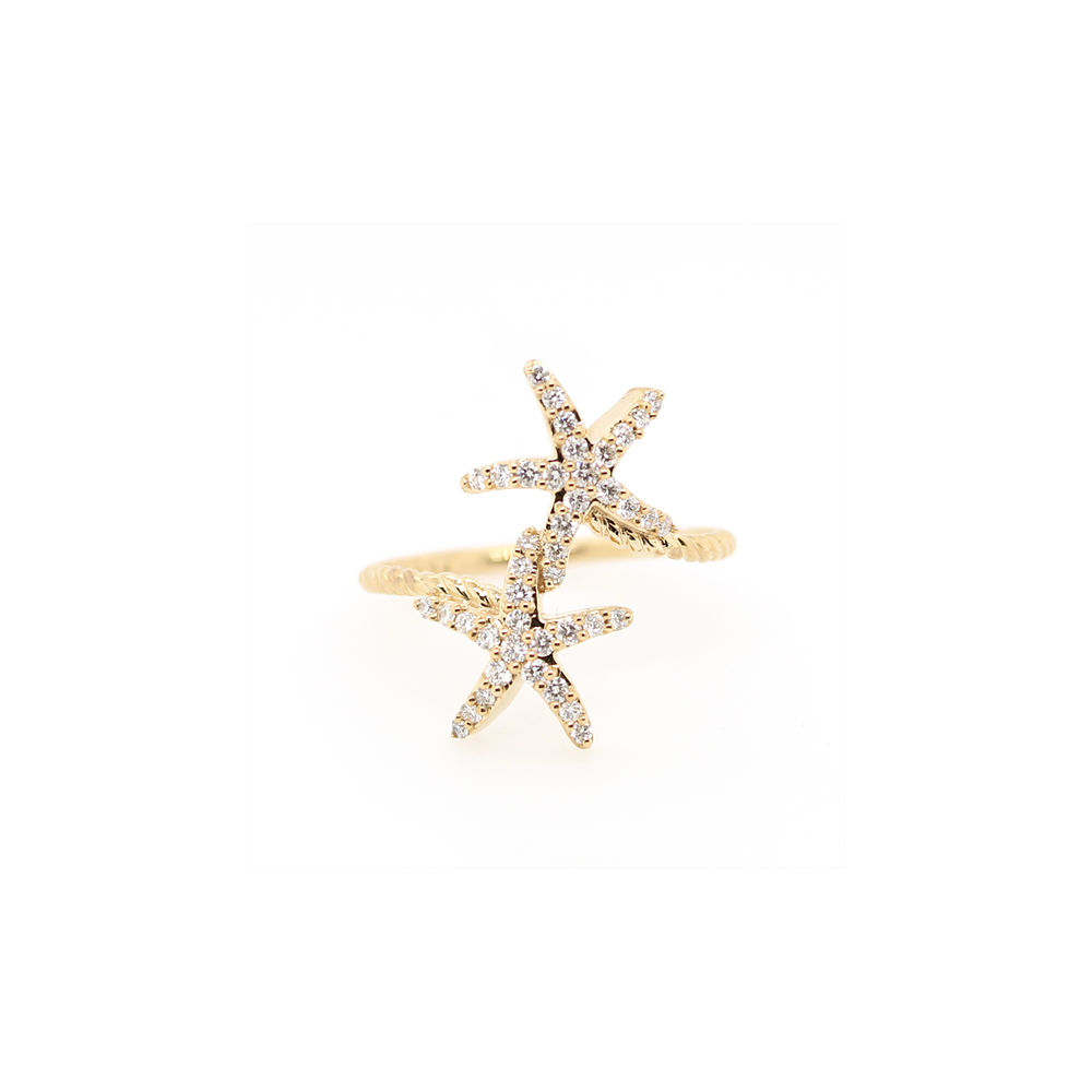 Shefi Diamonds 14 Karat Yellow Gold Diamond Starfish Ring (.32 Carat)