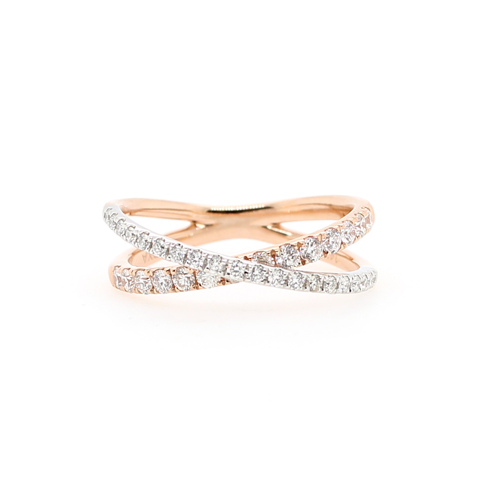 14 Karat Two Tone Diamond Crossover Band