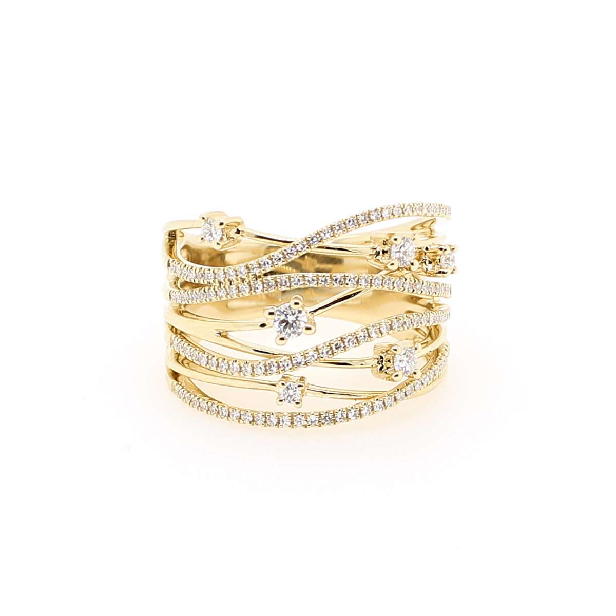 14 Karat Yellow Gold Diamond Bridge Ring