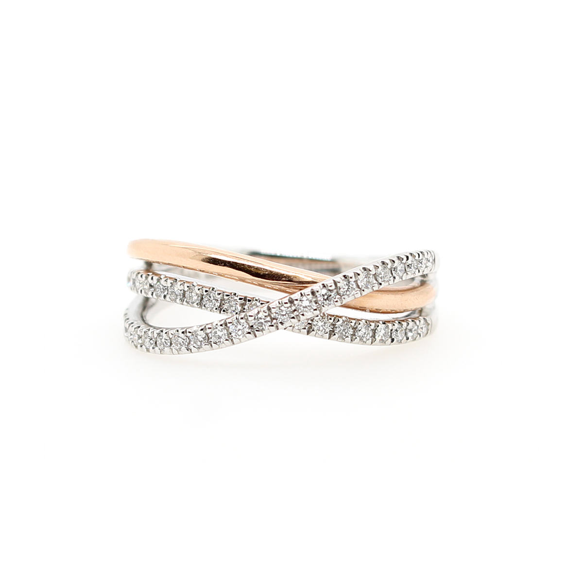 14 Karat Two Tone Diamond Three Row Crossover Ring