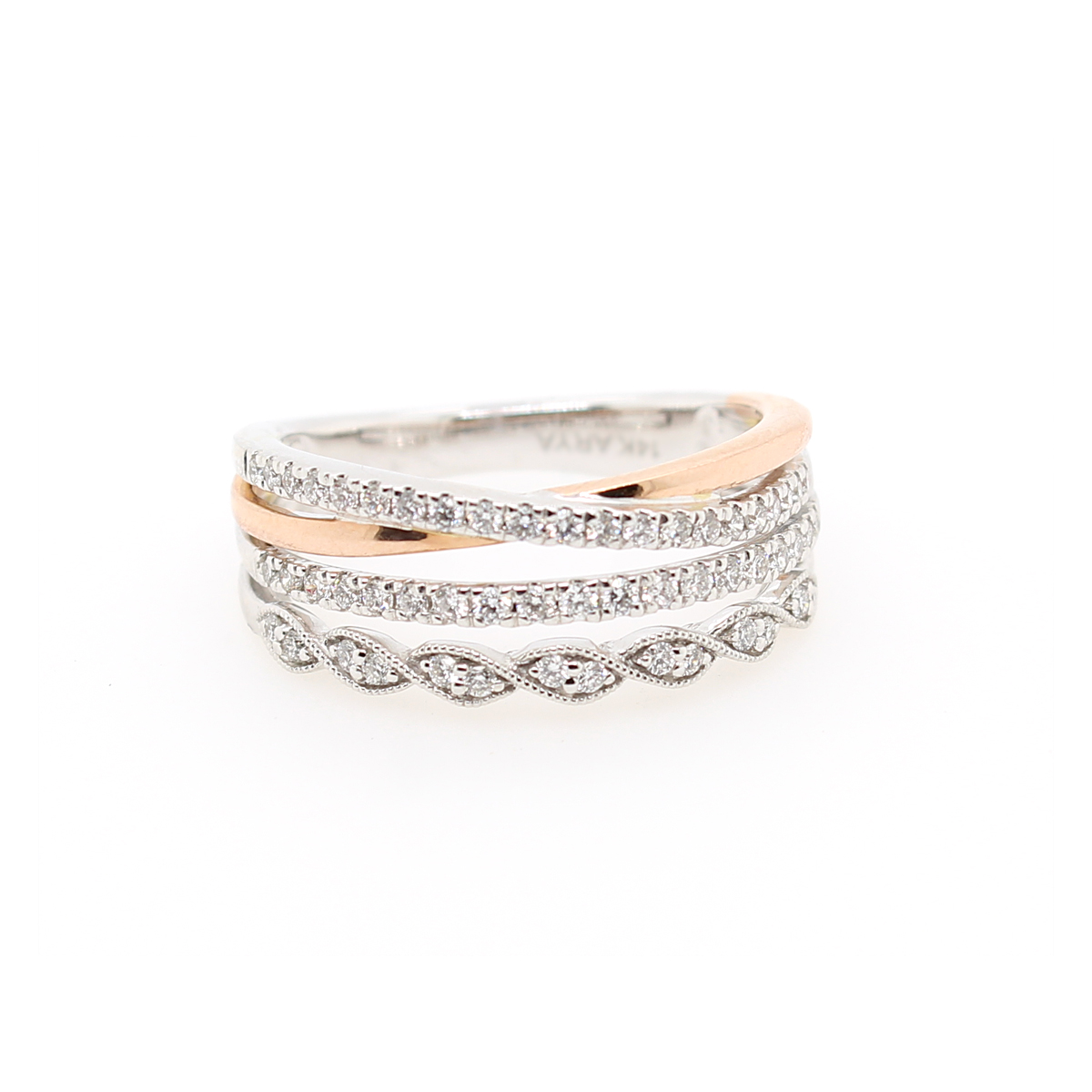 14 Karat Two Tone Four Row Diamond Ring
