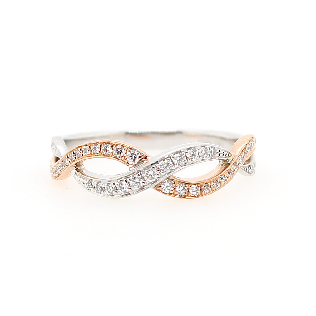 14 Karat Two Tone Diamond Crossover Ring