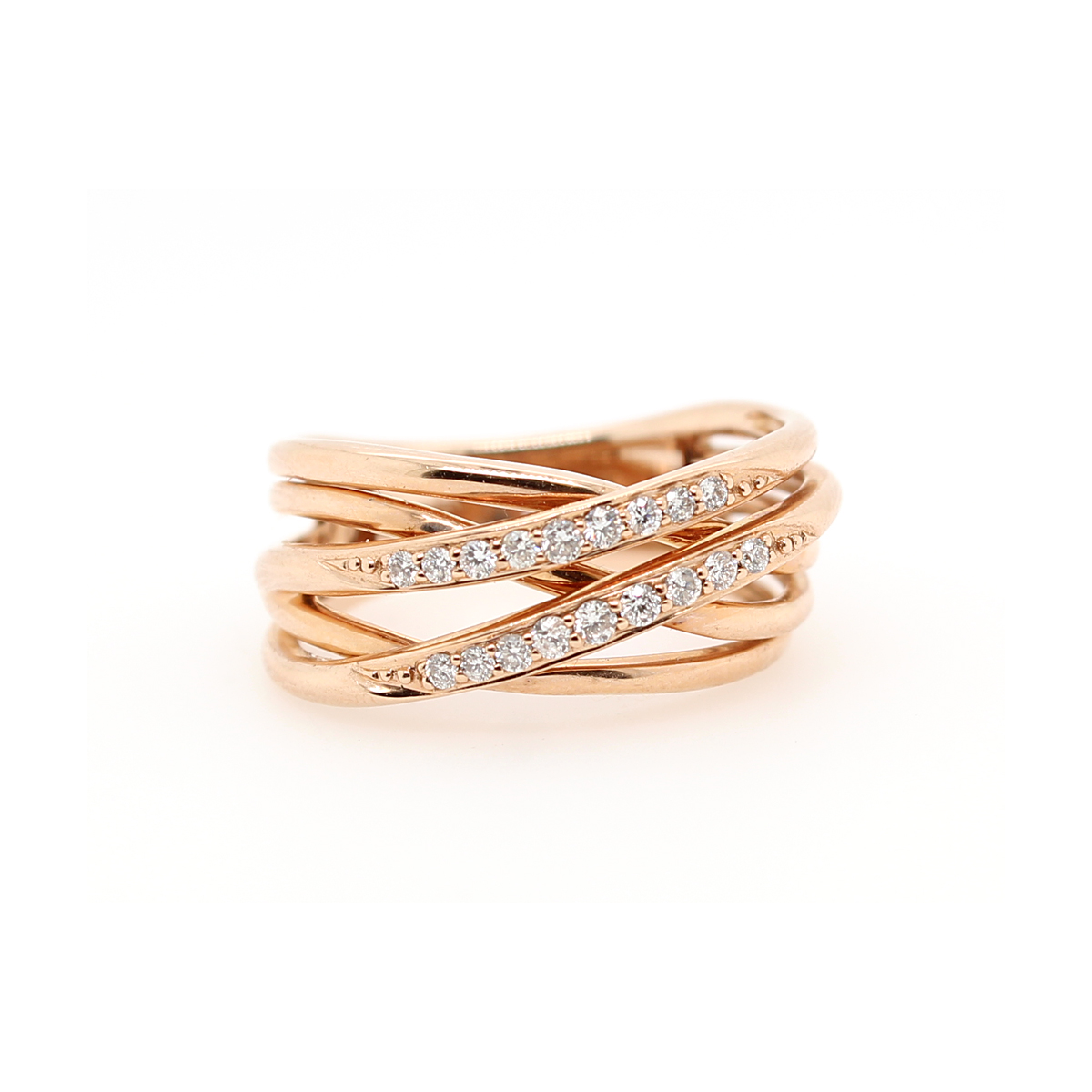 14 Karat Rose Gold Five Row Diamond Crossover Ring