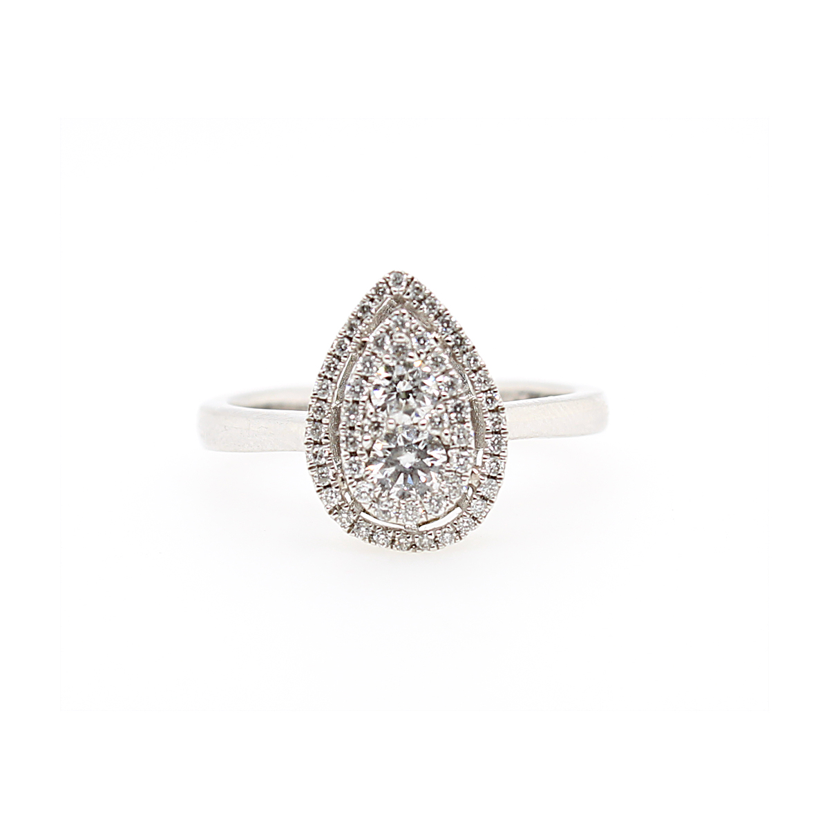 14 Karat White Gold Pear Shaped Diamond Ring