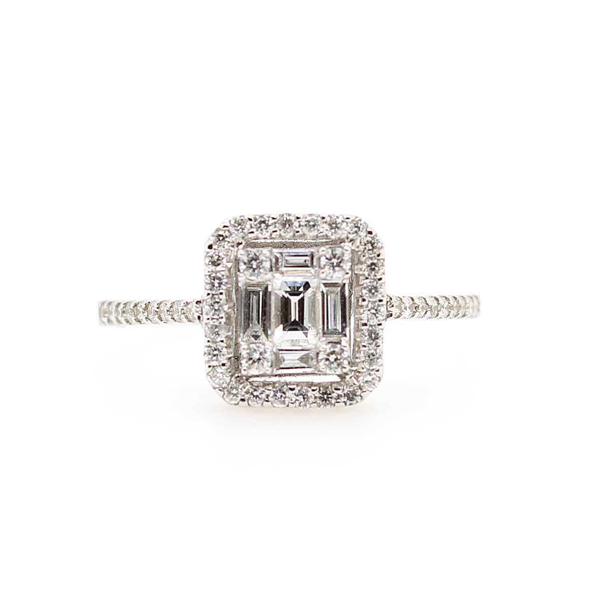 18 Karat White Gold Square Shaped Diamond Halo Ring
