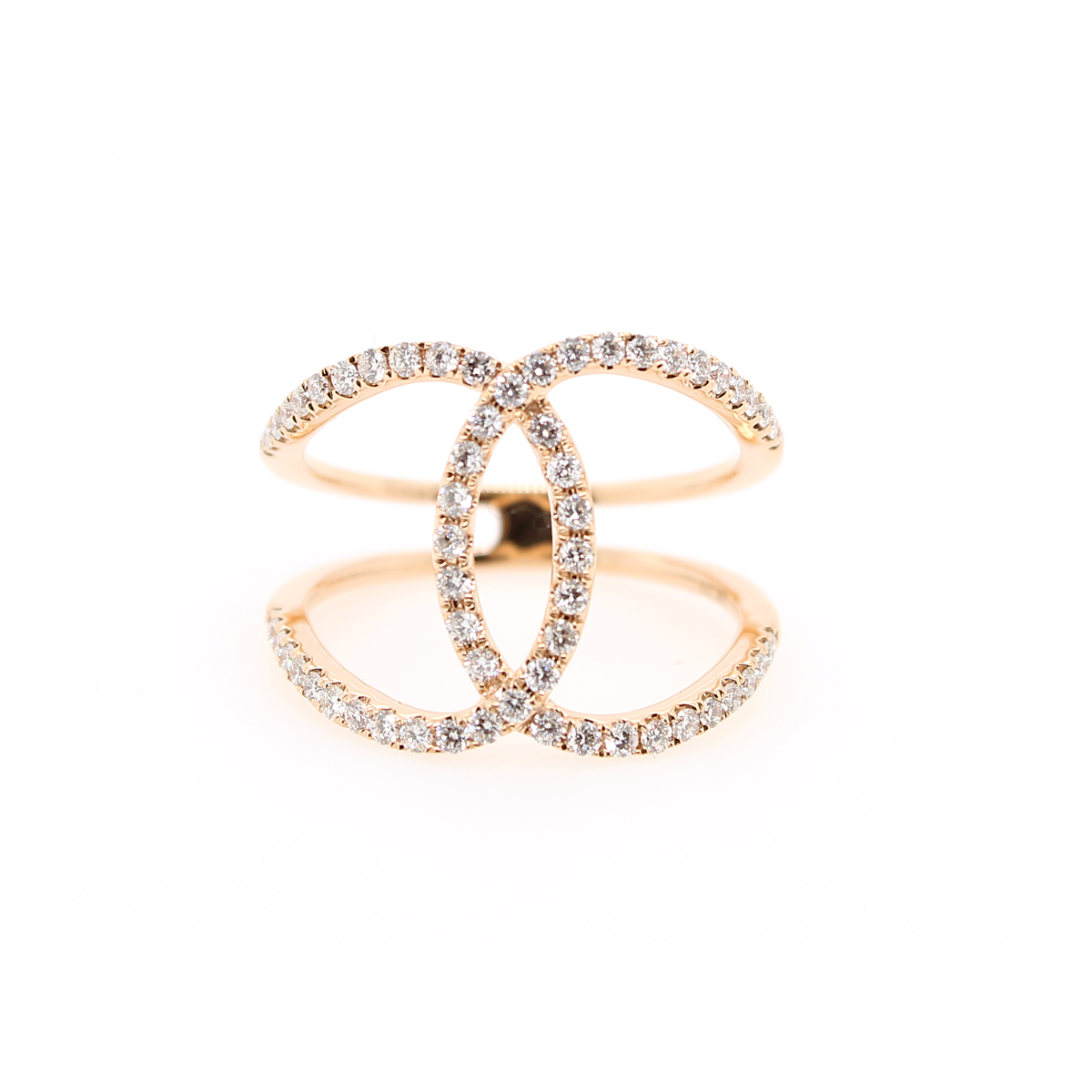 18 Karat Rose Gold Interlocking Diamond Ring