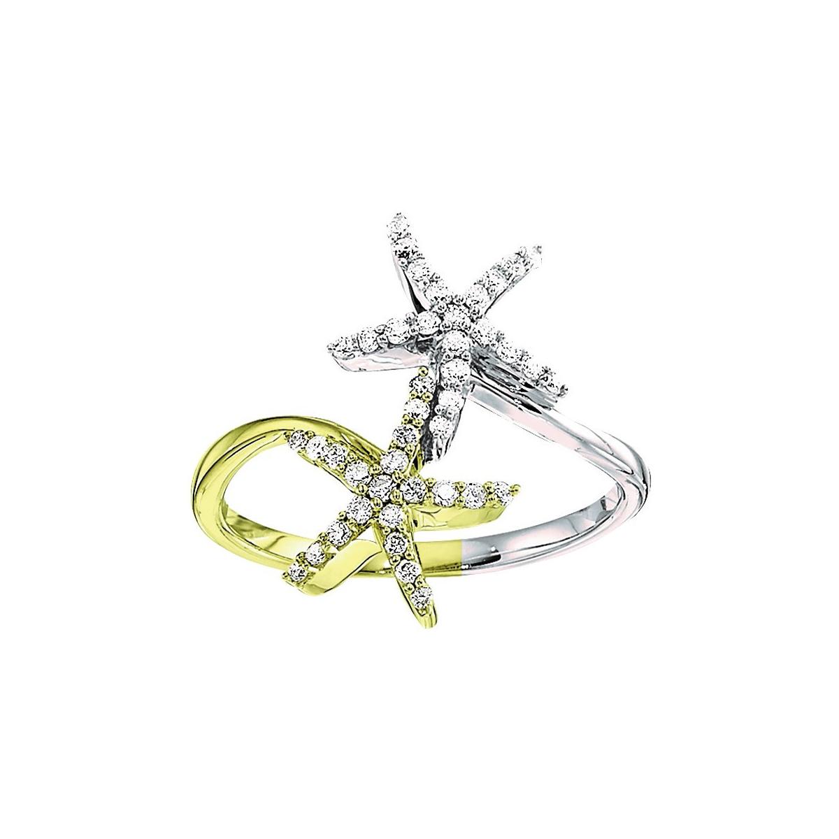 Shefi Diamonds 14 Karat Yellow and White Gold Diamond Starfish Bypass Ring