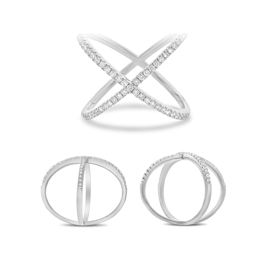 14 Karat White Gold Diamond Criss Cross Ring