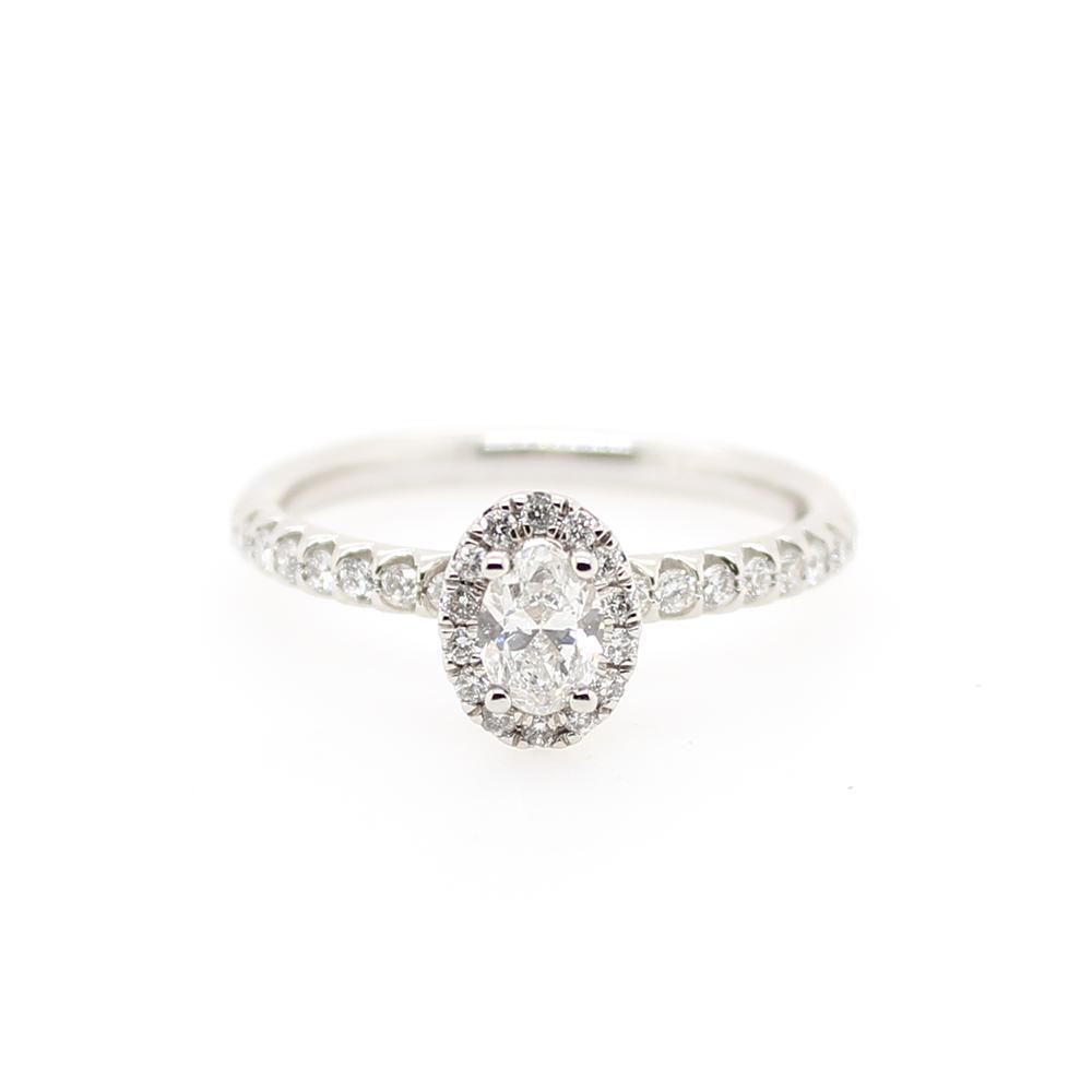 Paramount Gems 14 Karat White Gold Oval Diamond Ring