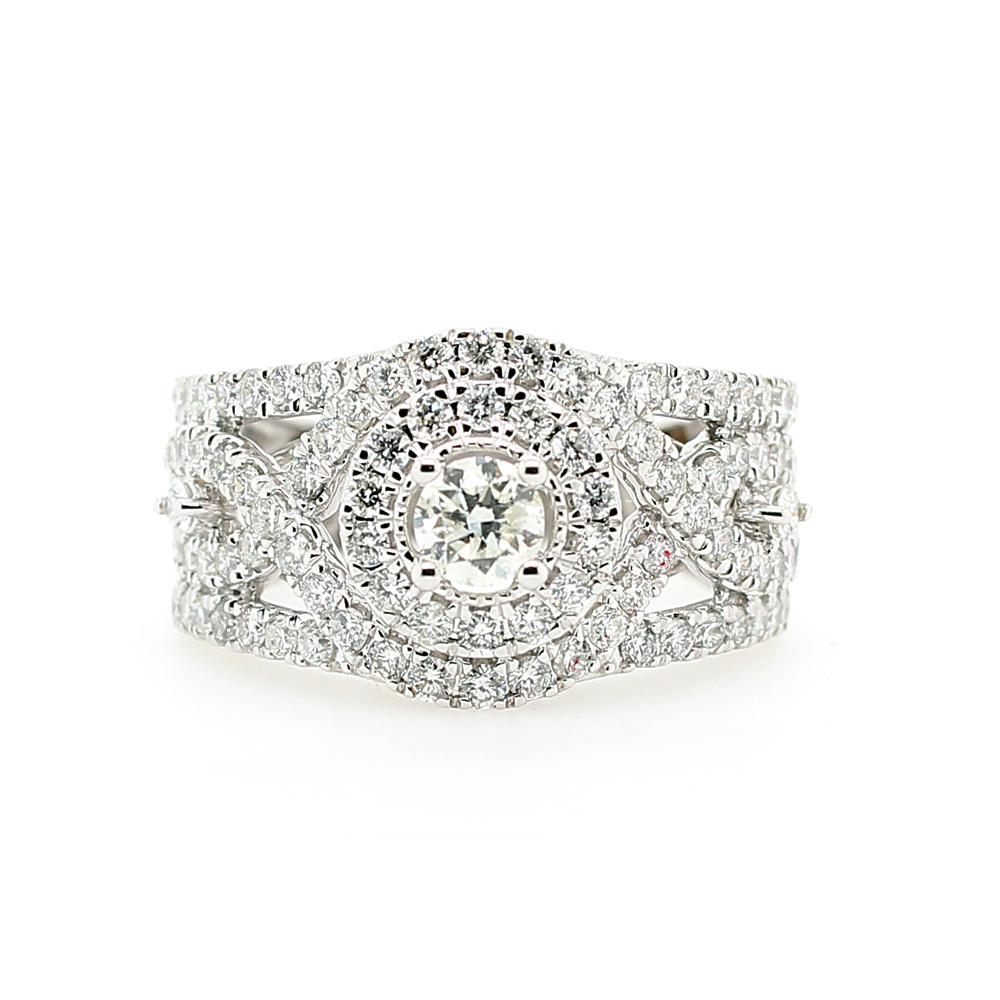 Paramount Gems 18 Karat White Gold Split Shank Diamond Fashion Ring