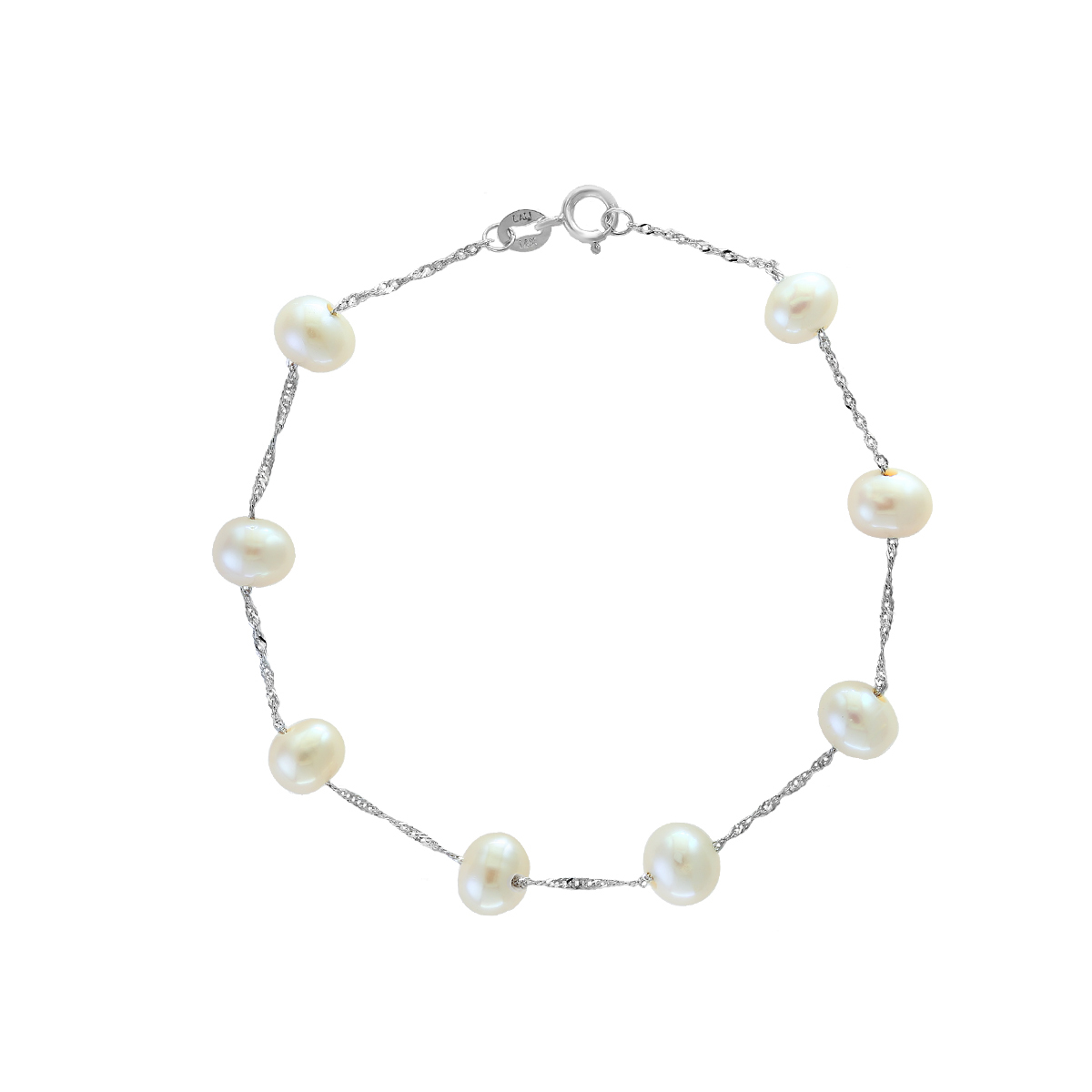 14 Karat White Gold Freshwater Cultured Pearl Bracelet