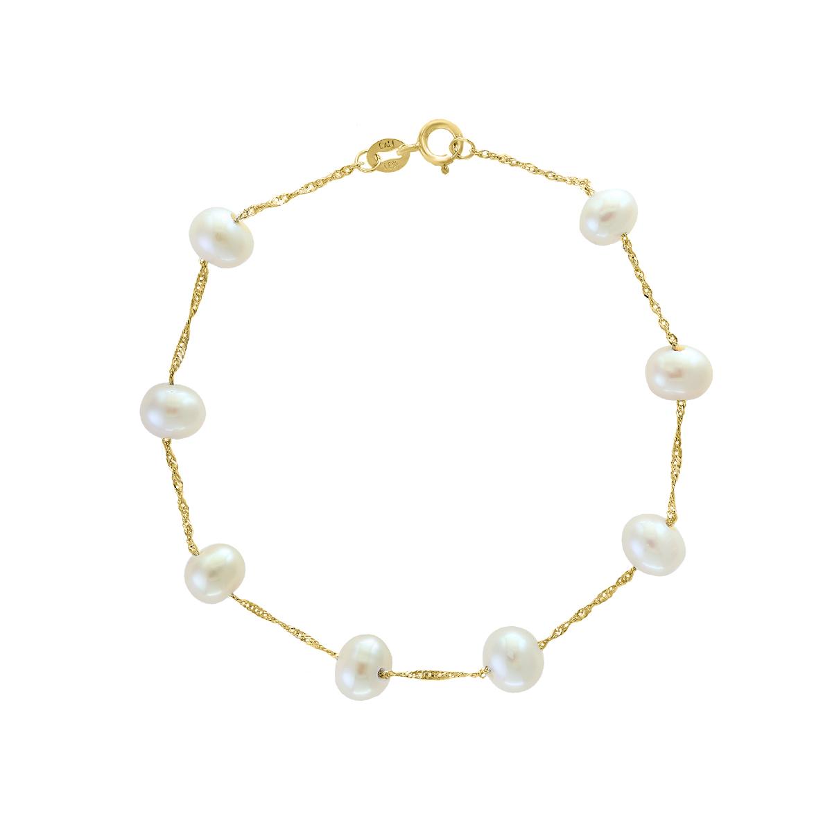 14 Karat Yellow Gold Freshwater Potato Pearl Bracelet
