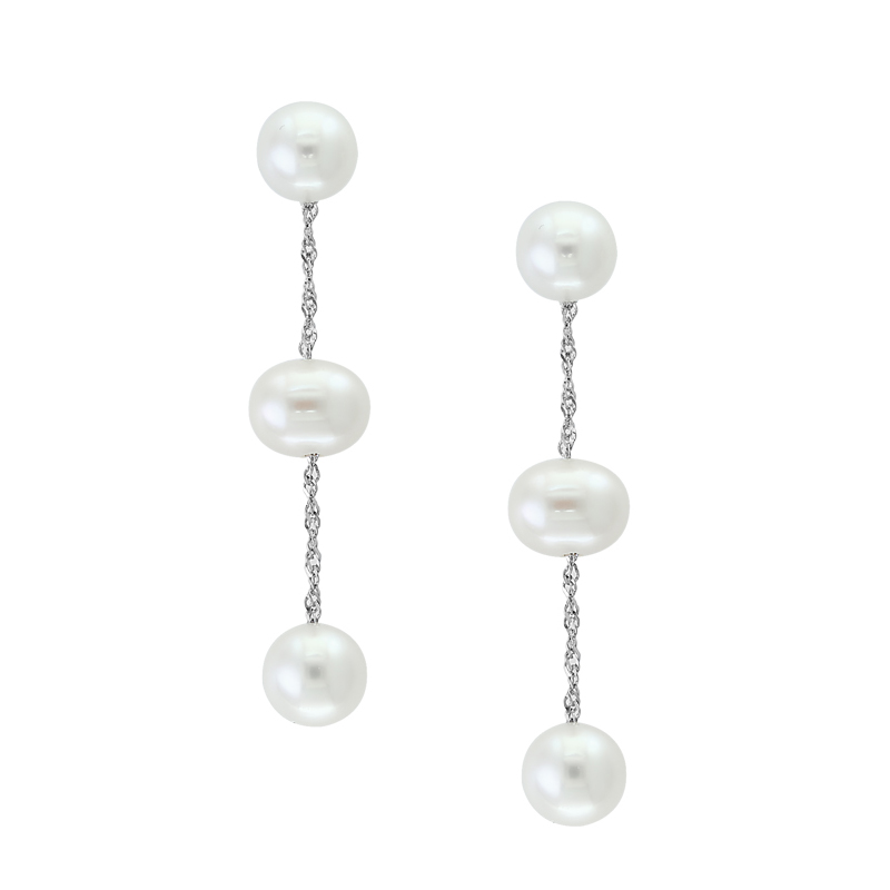 14 Karat White Gold Freshwater Potato Pearl Dangle Earrings
