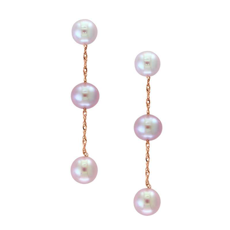 14 Karat Rose Gold Natural Pink Freshwater Pearl Dangle Earrings