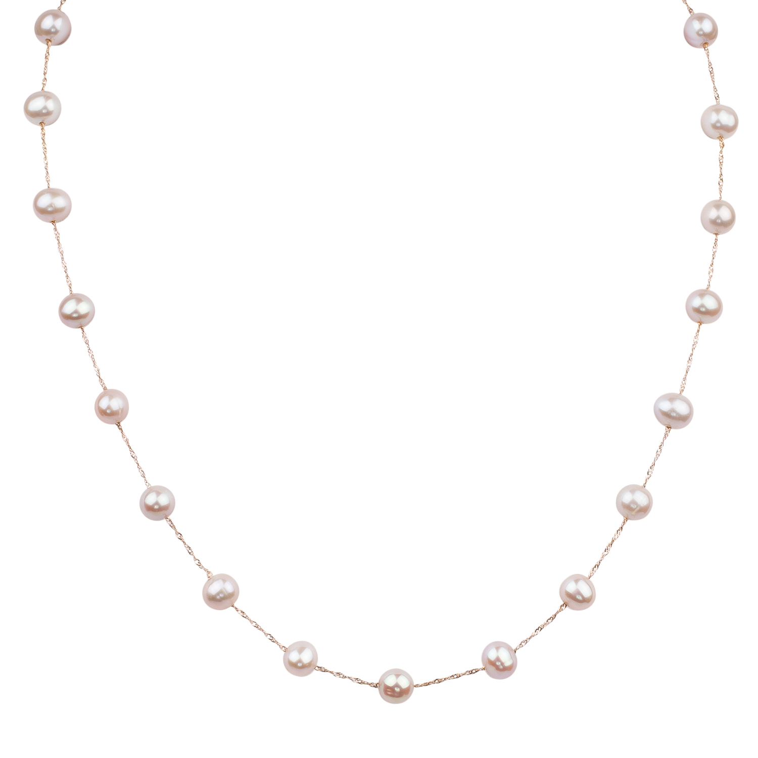 14 Karat Rose Gold Natural Pink Freshwater Pearl Station Necklace