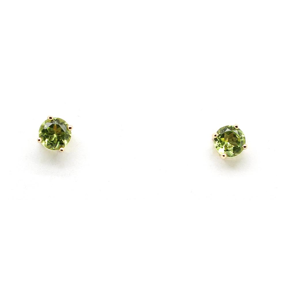 14 Karat Yellow Gold Peridot Stud Earrings