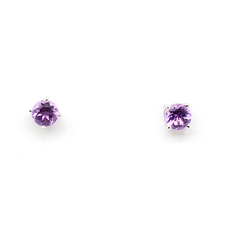 14 Karat White Gold Amethyst Stud Earrings