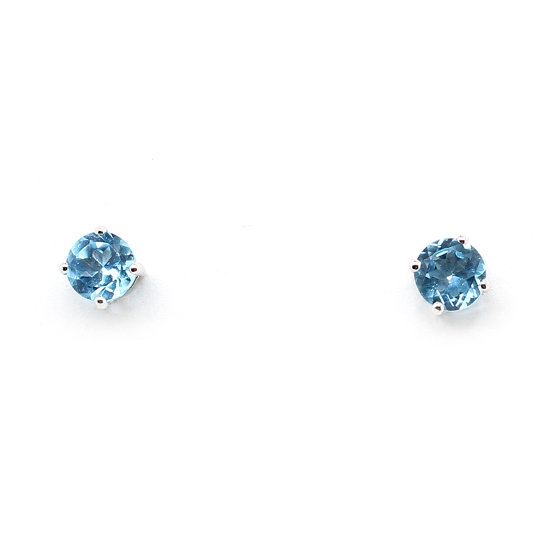14 Karat White Gold Blue Topaz Stud Earrings