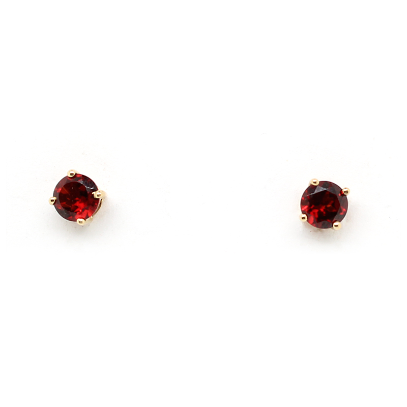14 Karat Yellow Gold Garnet Stud Earrings