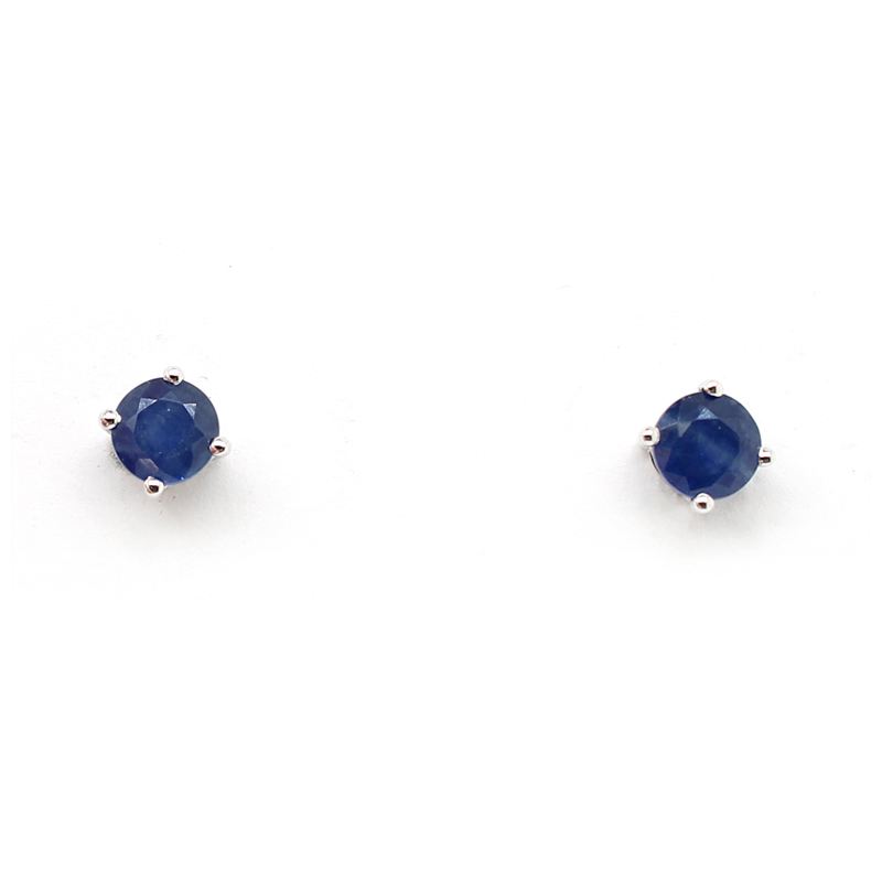14 Karat White Gold Blue Sapphire Stud Earrings