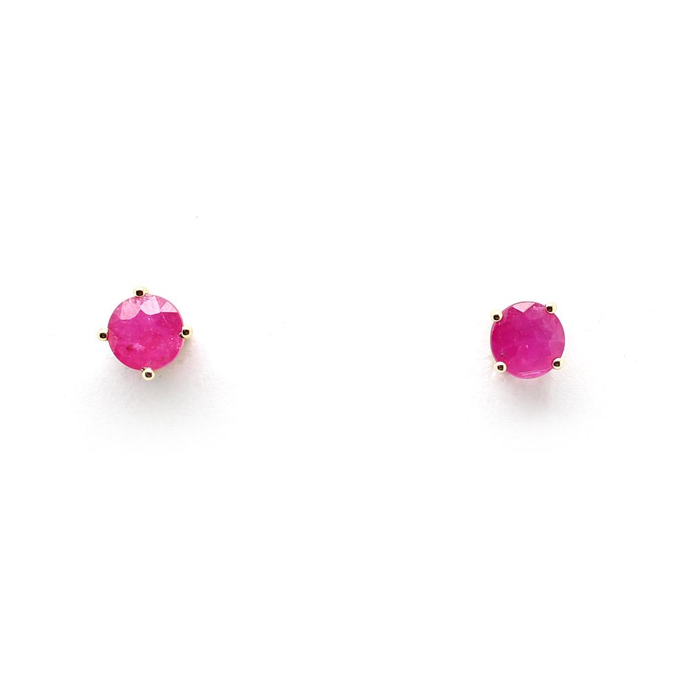 14 Karat Yellow Gold Ruby Stud Earrings
