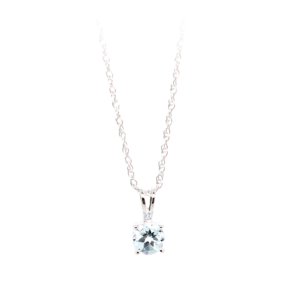 14 Karat White Gold Aquamarine Pendant Necklace