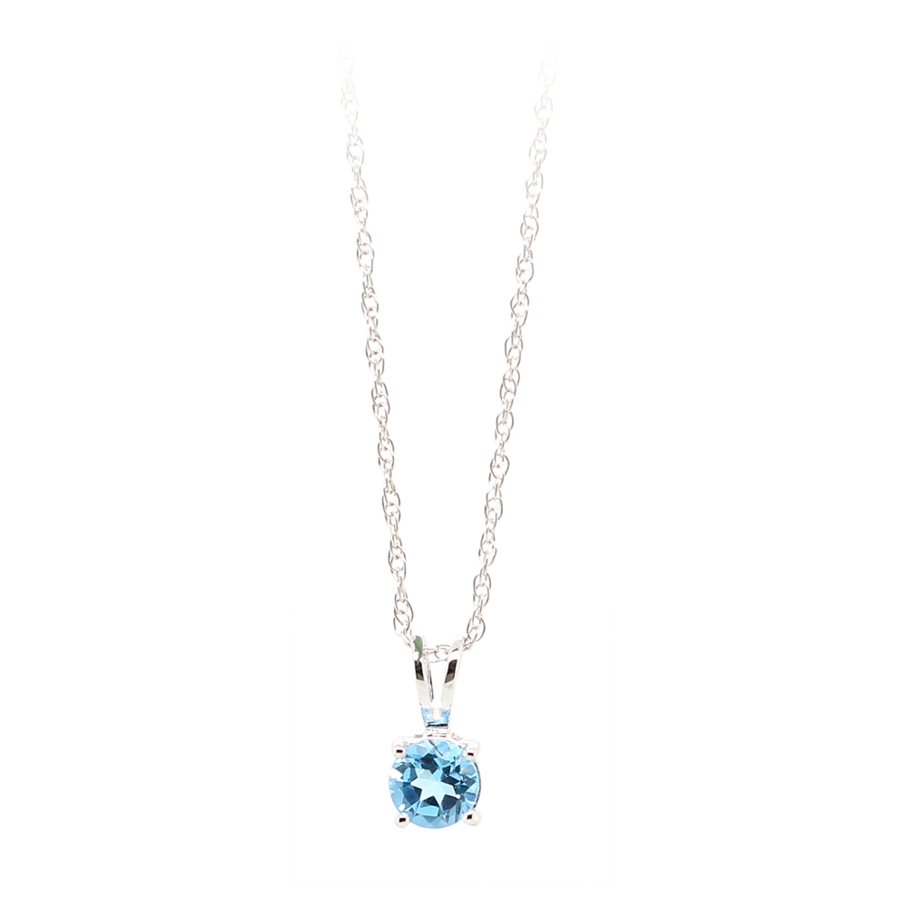 14 Karat White Gold Blue Topaz Pendant Necklace