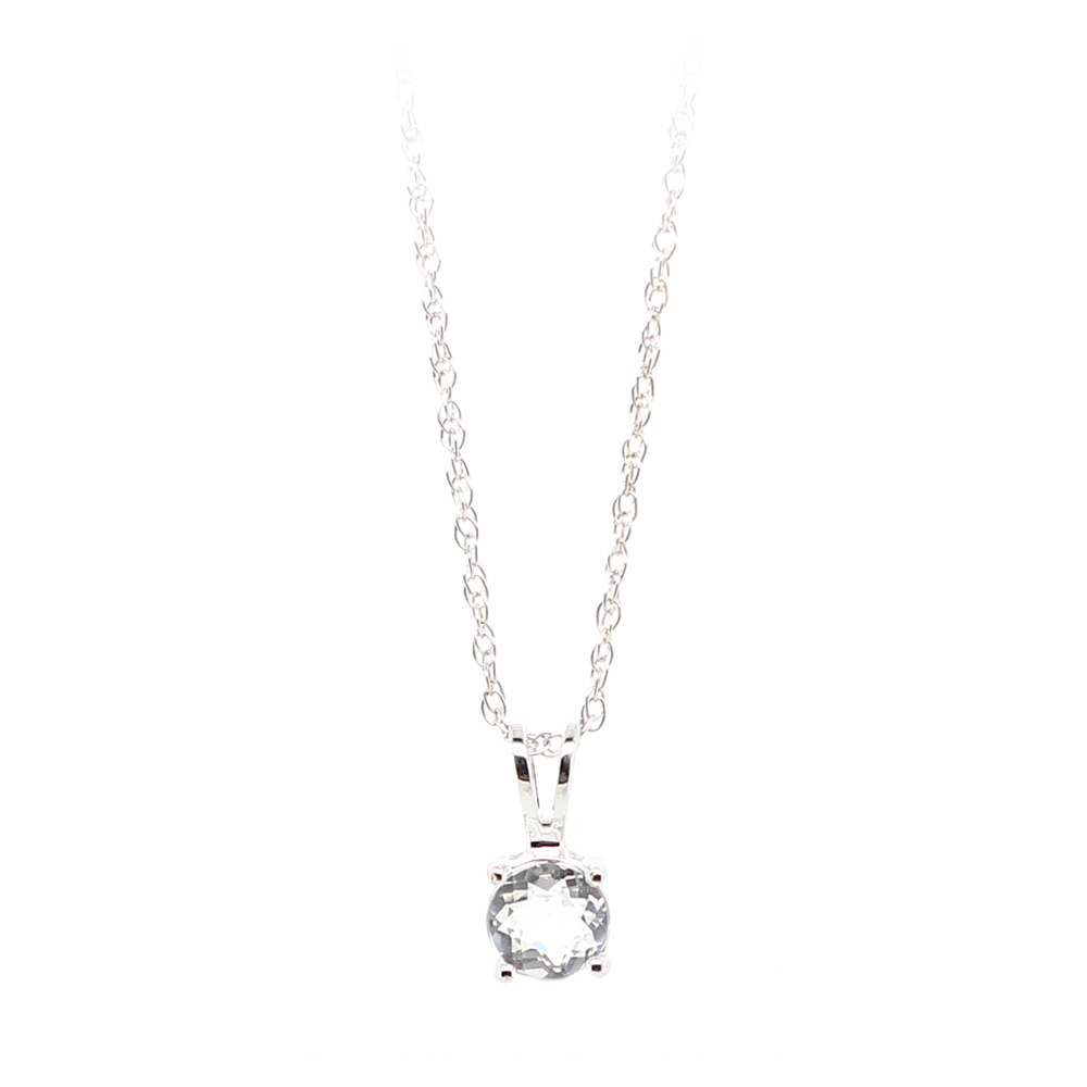 14 Karat White Gold White Topaz Pendant Necklace