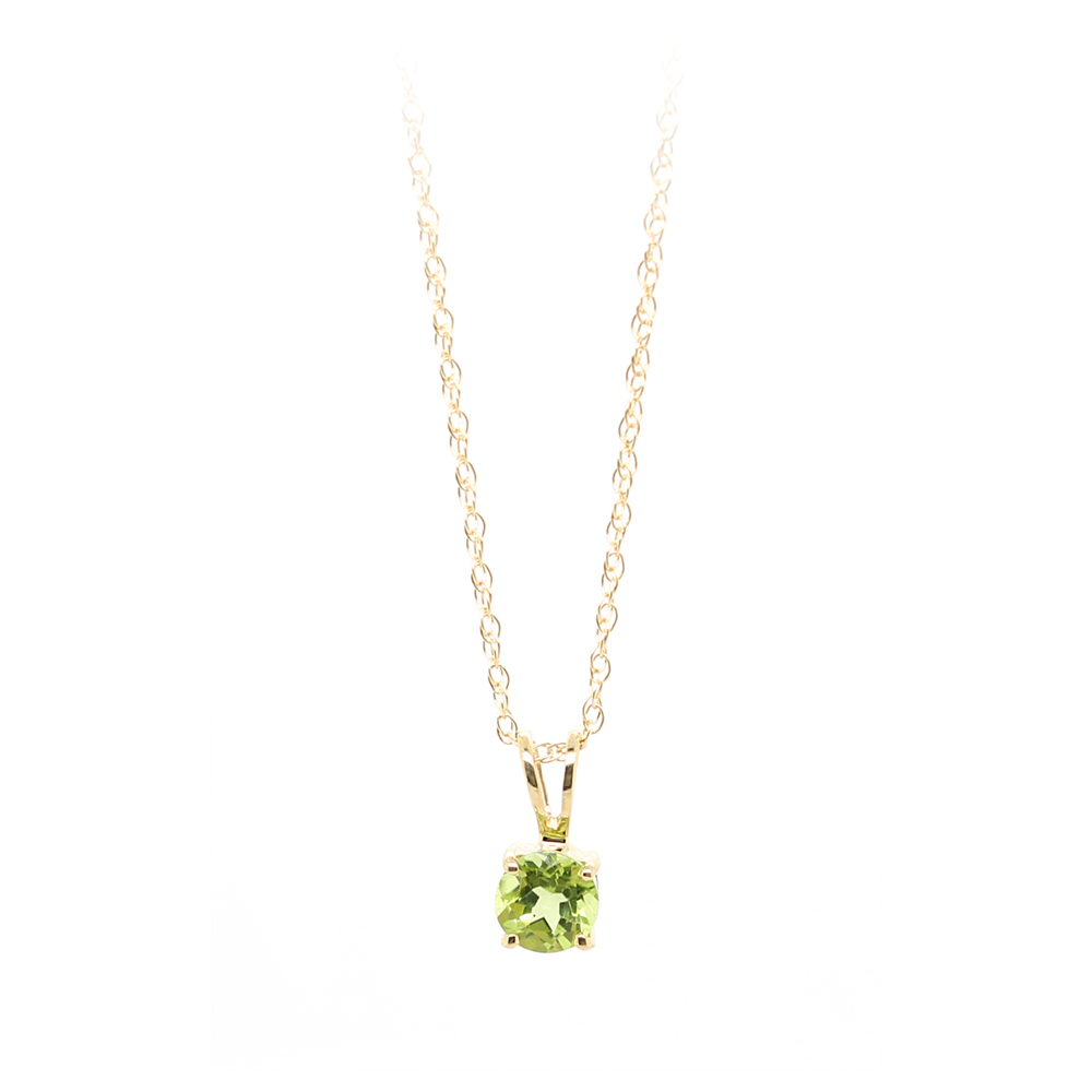 14 Karat Yellow Gold Peridot Pendant Necklace