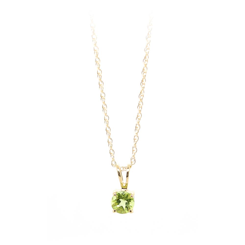 14 Karat Yellow Gold Peridot Pendant Necklace