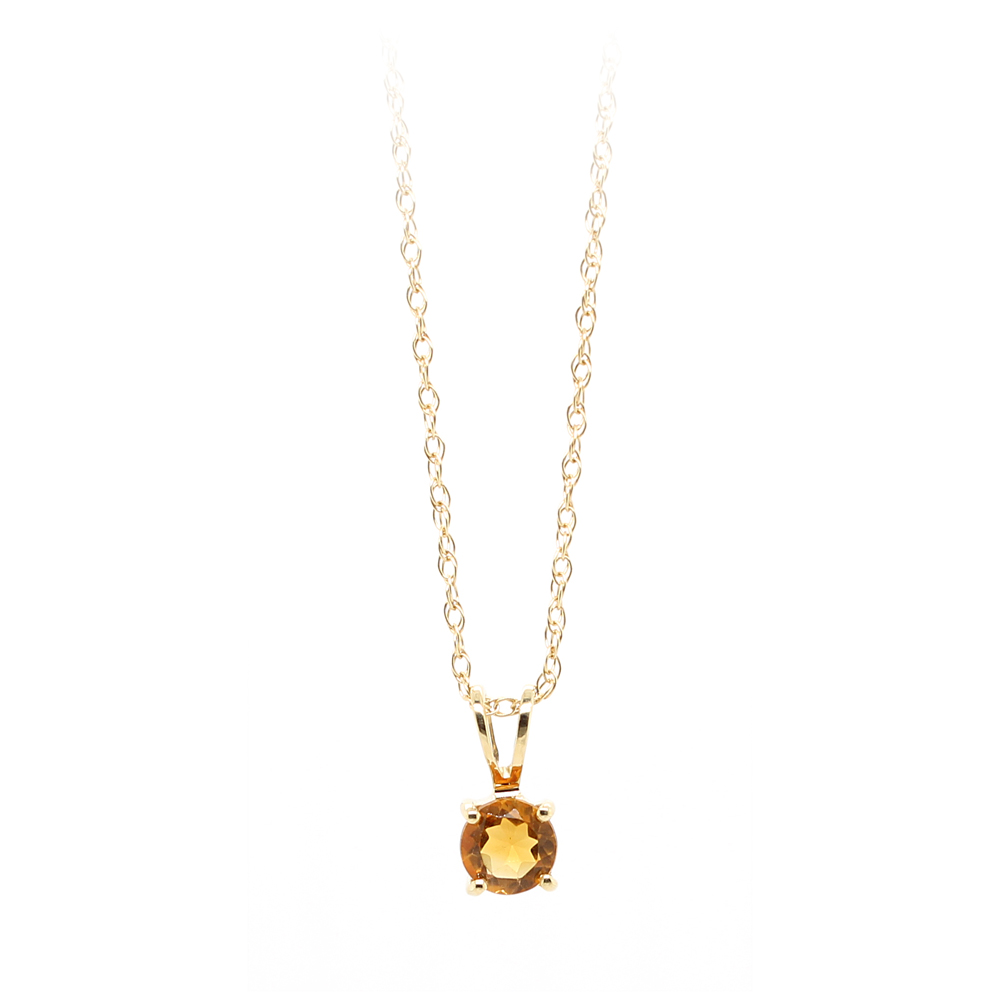 14 Karat Yellow Gold Citrine Pendant Necklace