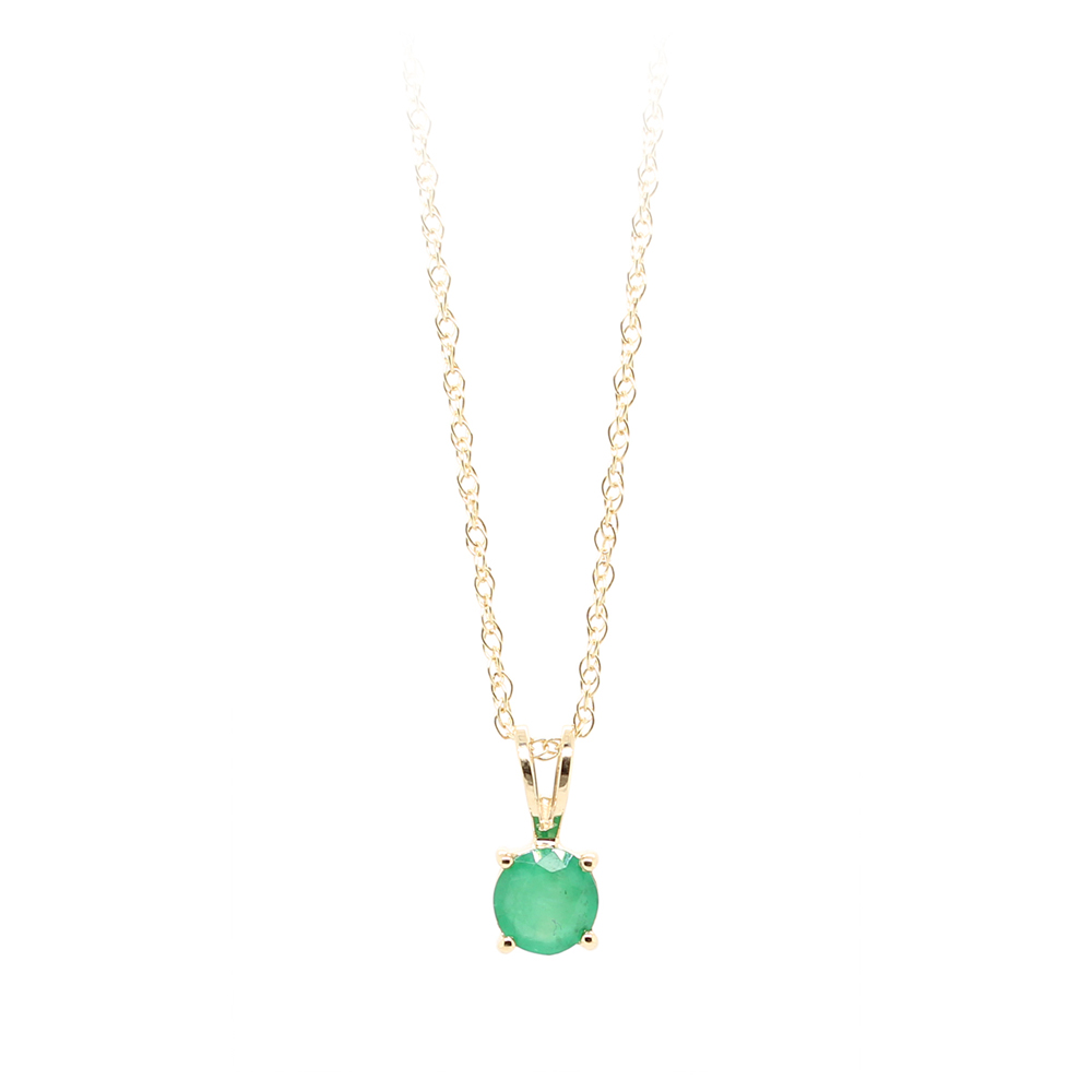 14 Karat Yellow Gold Emerald Pendant Necklace