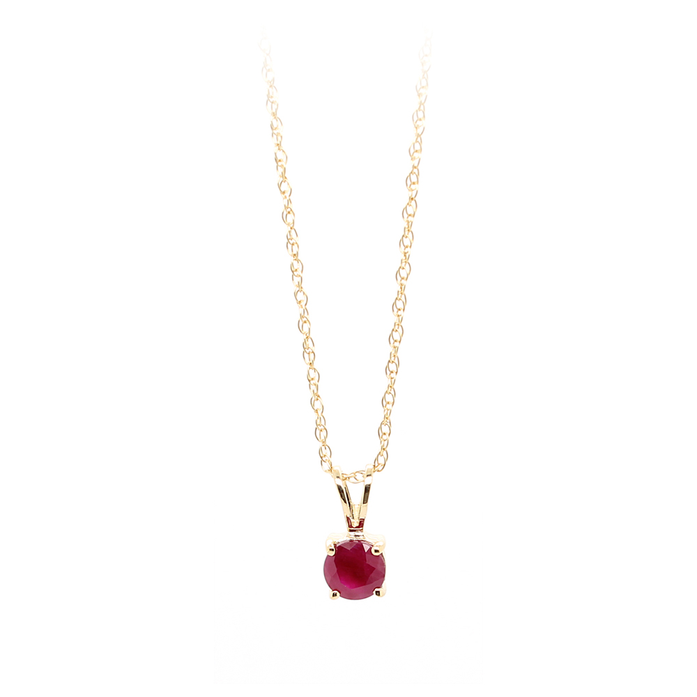 14 Karat Yellow Gold Ruby Pendant Necklace