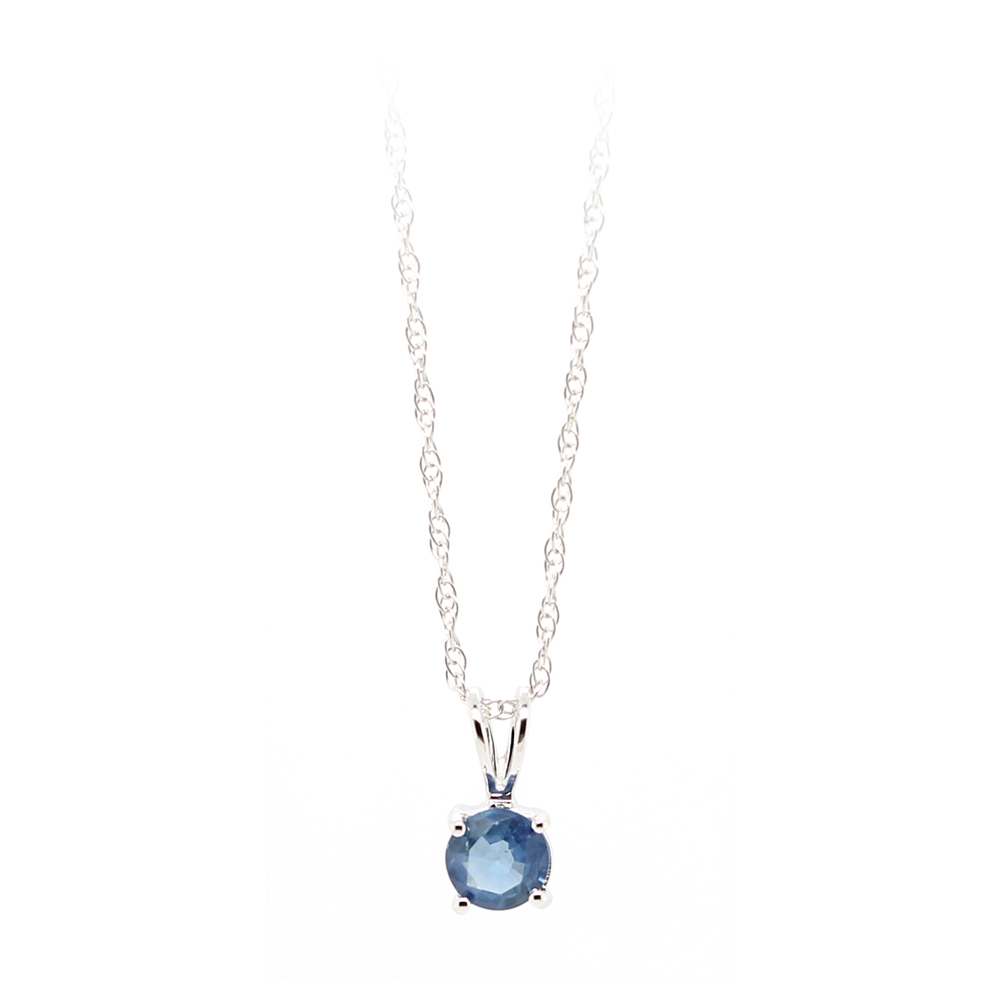 14 Karat White Gold Blue Sapphire Pendant Necklace