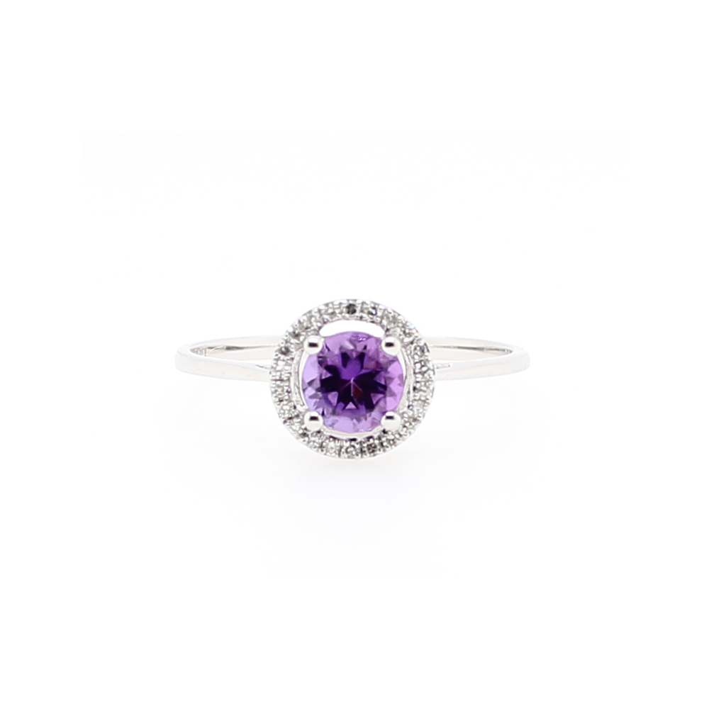 14 Karat White Gold Round Amethyst and Diamond Halo Ring