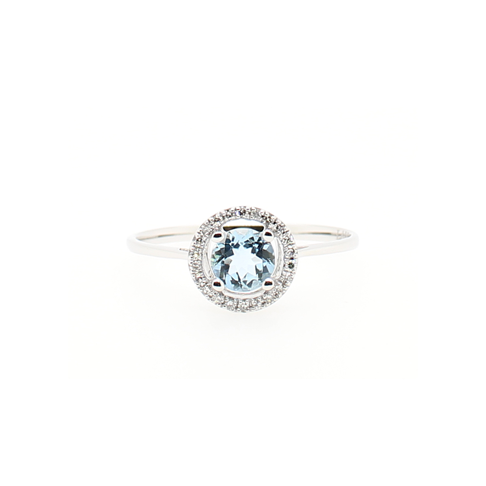14 Karat White Gold Round Aquamarine and Diamond Halo Ring