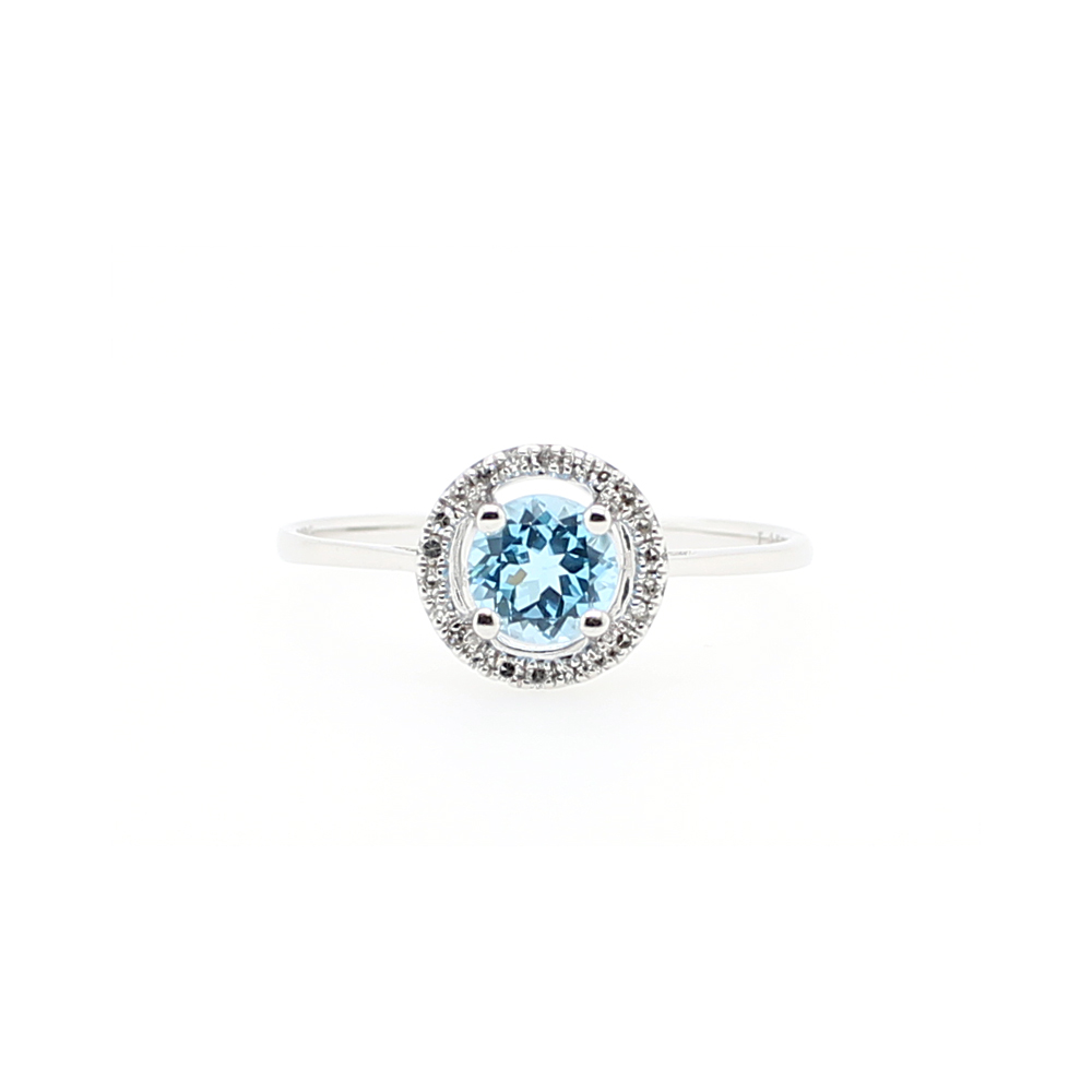 14 Karat White Gold Round Blue Topaz and Diamond Halo Ring