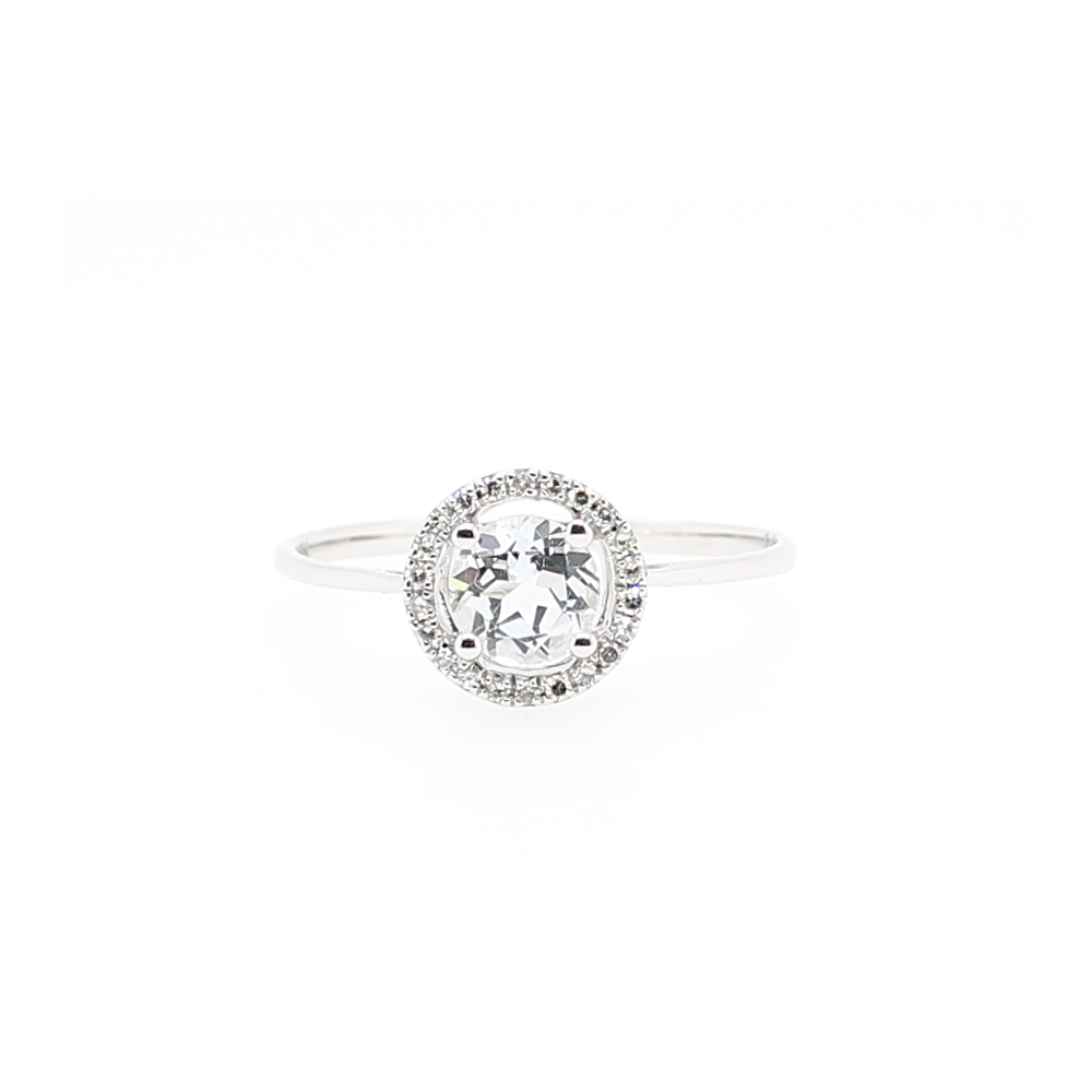 14 Karat White Gold Round White Topaz and Diamond Halo Ring
