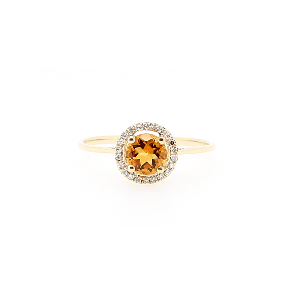 14 Karat Yellow Gold Round Citrine and Diamond Halo Ring