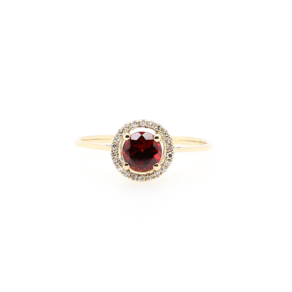 14 Karat Yellow Gold Round Garnet and Diamond Halo Ring