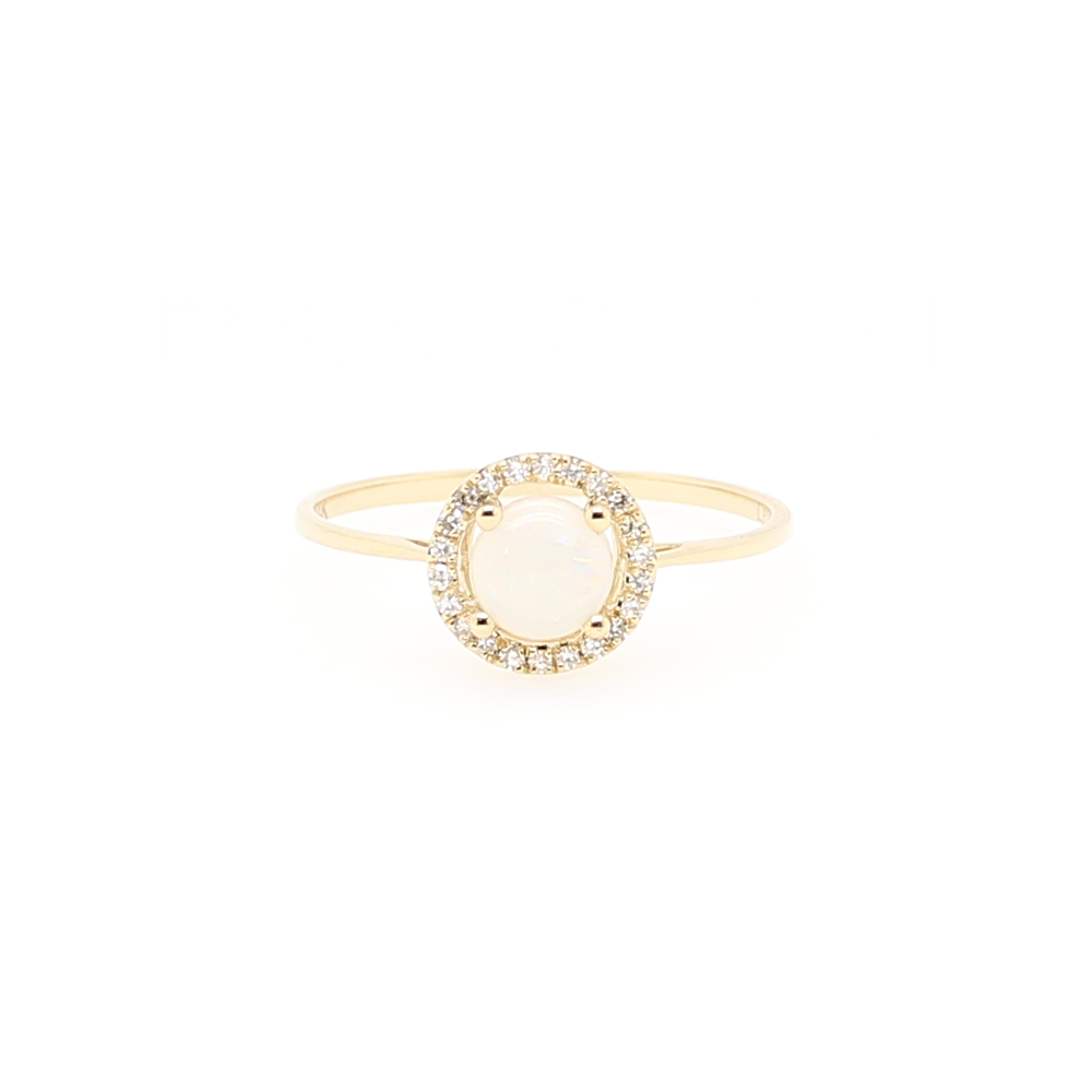 14 Karat Yellow Gold Round Opal and Diamond Halo Ring