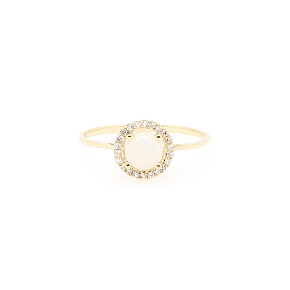 14 Karat Yellow Gold Round Opal and Diamond Halo Ring