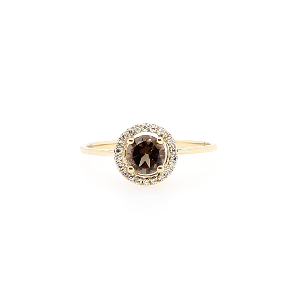 14 Karat Yellow Gold Round Smoky Quartz and Diamond Halo Ring